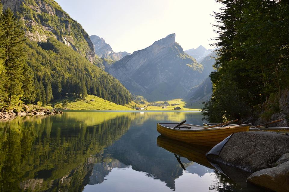 Landschaft, Bergsee, Berg, See