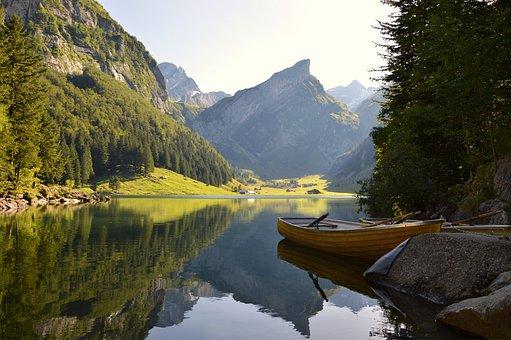 水, 川, 湖, 山, 高山, ボート, 森林, 木, スイス, 残り, 反射