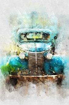 Car, Old Car, Watercolor, Transportation