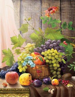 Ovoce, Koš, Jídlo, Vinná Réva