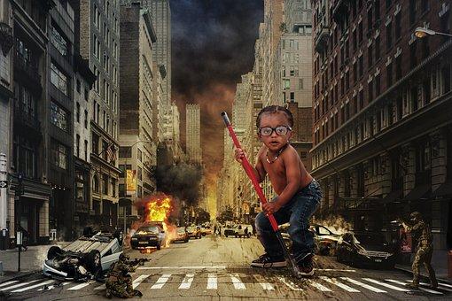 忍者, 孩子, 城市, 销毁, 纽约, 风险, 车祸, 武, 黑, 士兵, 行动