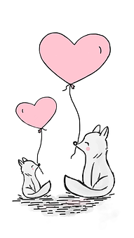 Fox, Love, Heart, Balloon