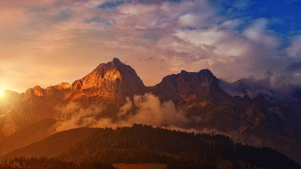 Berg, Sonnenuntergang, Panorama, Morgendämmerung