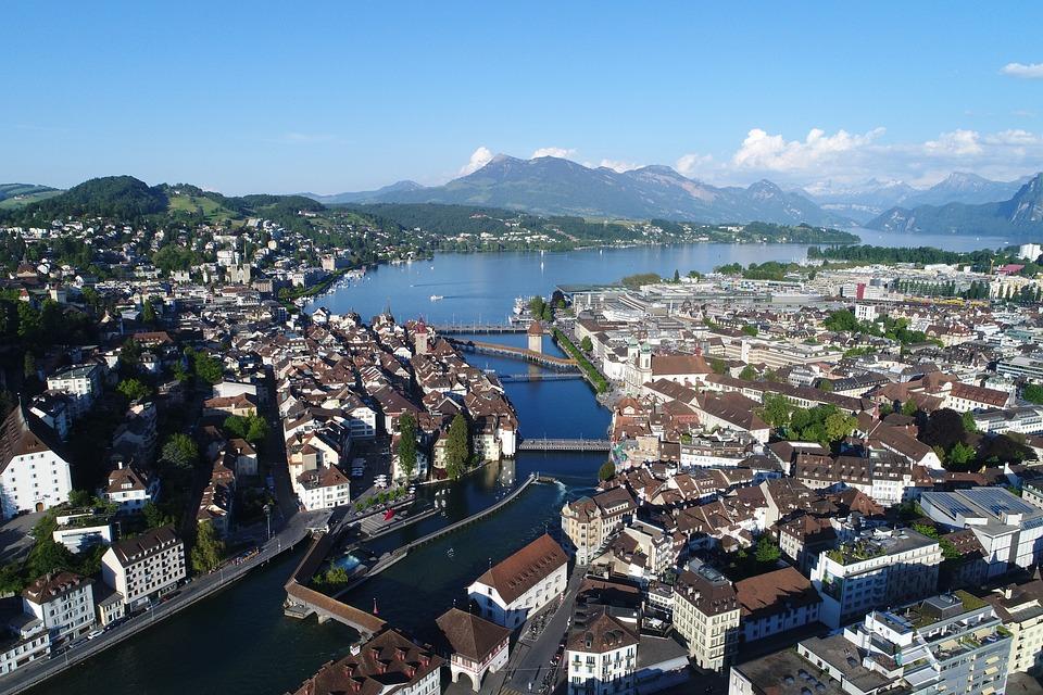 Miasta, Morze, Panorama, Wody, Lucerna, Lucern