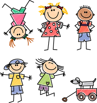 Kids, Dibujo, Garabato, Líneas, Niña