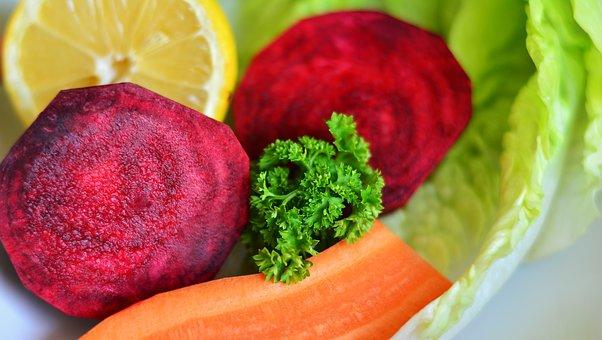 ビートの根, サラダ, ミックスサラダ, 食品, 健康, 野菜, ダイエット