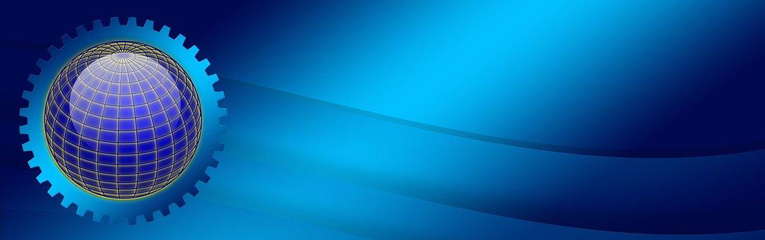 Blue, Gear, Globe, Gradient, Effect