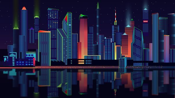 Drawing of colorful skyscrapers before a river on a dark night