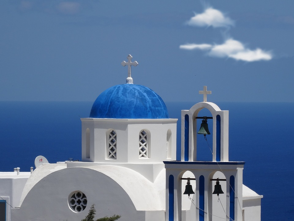 Santorini, Church, Dome, Orthodox, Bell Tower, Greece