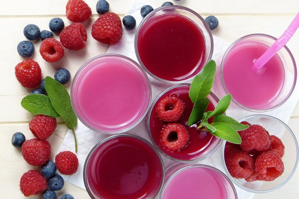 Raspberry, Blueberry, Smoothies, Juice, Pressed, Fresh