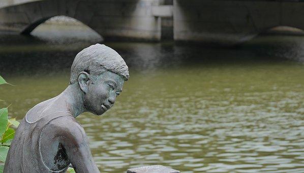 水, 自然, 河, 户外, 旅行, 公园, 青铜, 男孩, 孩子