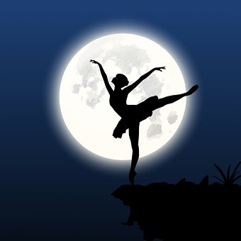Silhouette, Dancer, Cliff, Moon