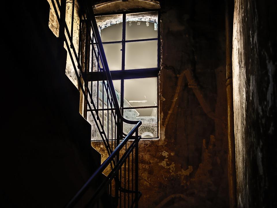 Hallway, Stairs, Staircase, Window, Railing, Night