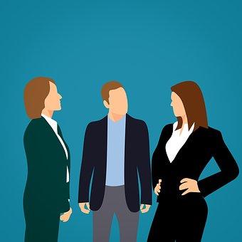 話し合っているビジネスマンのイラスト|KEN'S BUSINESS|ケンズビジネス|職場問題の解決サイト