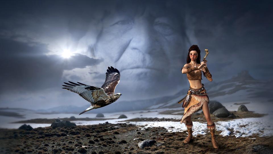 Fantasie, Mystiek, Indianen, Falcon, Landschap, Hemel