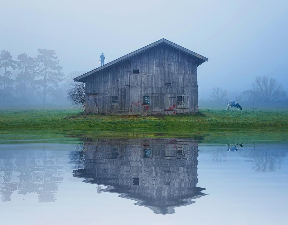 Víz, Ház, Barn, A Szabadban, Természet, Tó, Építészet