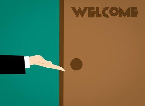 ようこそ, 歓迎する, ドア, オフィス, オープン, 手, 通路, エントリ