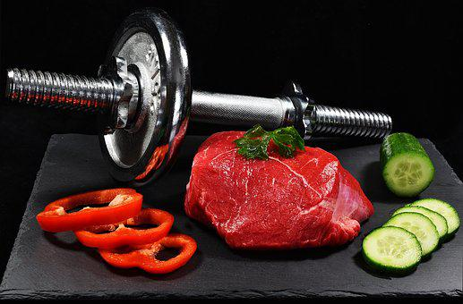 Meat, Dumbbell, Cucumber, Pepper, Food
