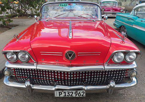古巴, 哈瓦那, 酒店, 经典, Almendron, 车, 别克, 红色