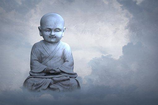 孩子, 天空, 宗教, 灵性, 云, 佛, 雕塑, 雕像, 云表, 佛教, 蓝色