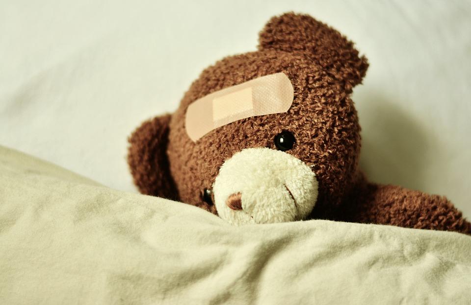 テディ、テディベア、病気、パッチ、すぐに元気になる、クマ