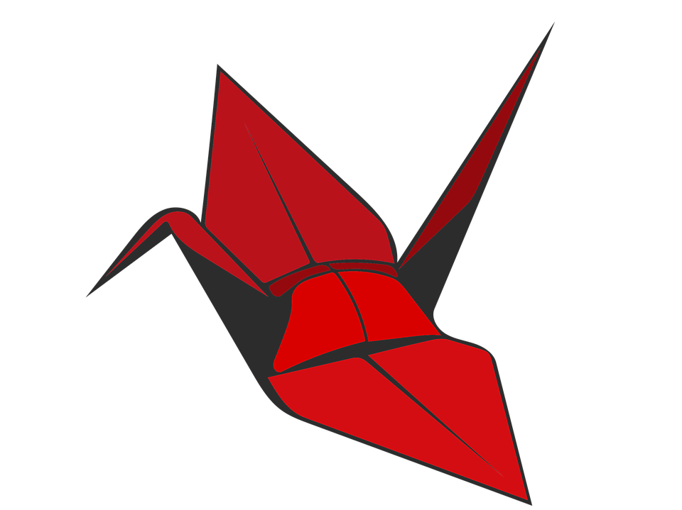 Origami Crane Red Bird Paper Decoration Symbol