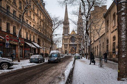 ストリート, 市, アーキテクチャ, パリ, 雪