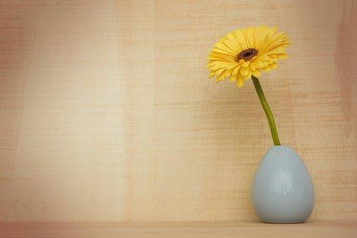 ガーベラの花, 装飾, 植物, 花, 静物, 春, シーズン, 黄色, 花瓶
