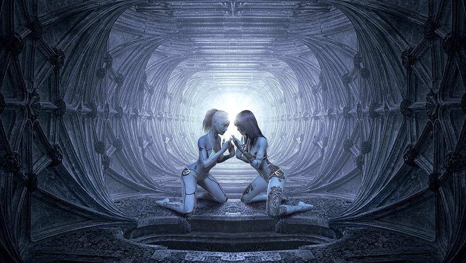 Free Illustration Fantasy Tunnel Women Love Light