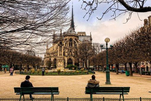 パリ, 市, 観光, ノートルダム, 庭, 秋