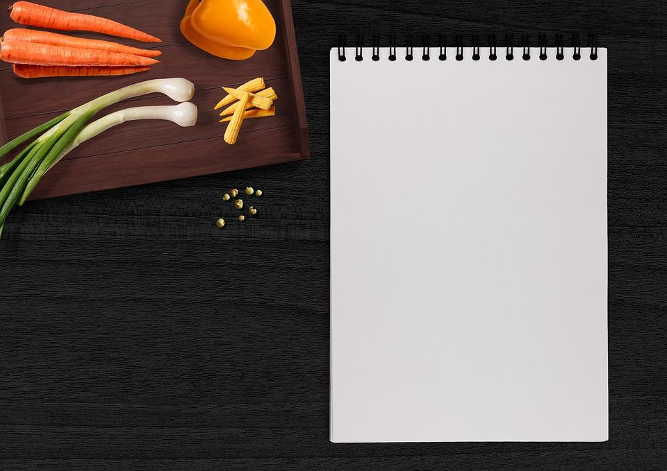 手書きパッド, 野菜, テーブル, トレイ, パプリカ, ニンジン, タマネギ, ばねのタマネギ