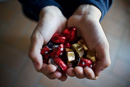 チョコレート, お菓子, 寄付します, 手, 子, 男, 人, 手工芸品