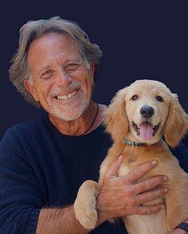 肖像画, 犬, ペット, 幸福, 高齢者, 青嬉しい, 青肖像, 青いペット