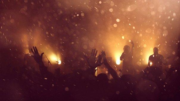 アクション, コンサート, 音楽, バンド, ファン, 文化, 煙, ブラック