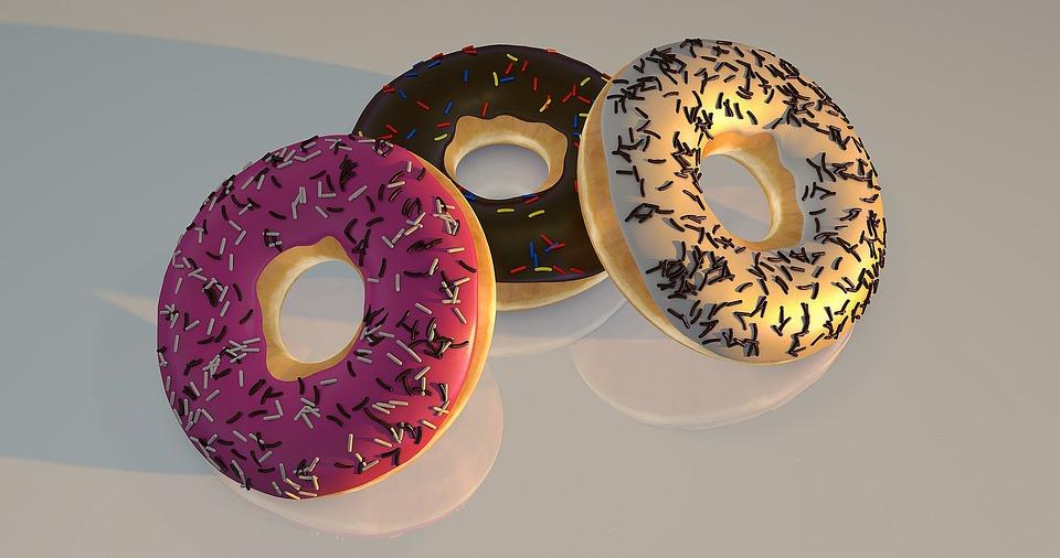 ドーナツ, リフレッシュメント, 美味しい, デザート, 背景, チョコレート, 砂糖, 装飾品, キャンディ