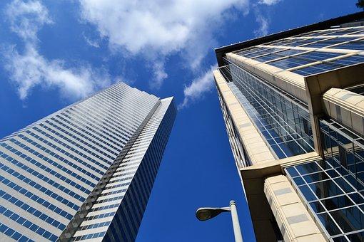 摩天楼, 办公大楼, 灯柱, 当代, 现代, 天空, 玻璃项目, 业务, 窗口