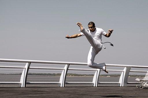 Joven, Deporte, Acción, Capoeira