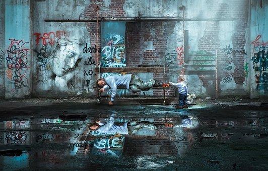 壁, 都市, 反射, 汚い, 放棄された建物, ホームレスの男, 貧困