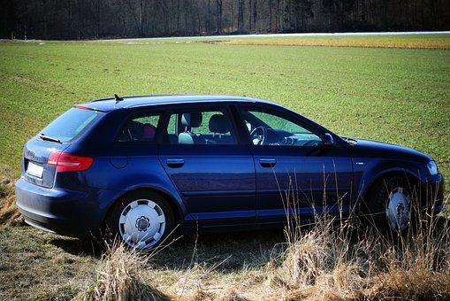 汽车, 奥迪, A3, 蓝色, 性质, 车辆, 的传输系统, 轮, 路, 交通