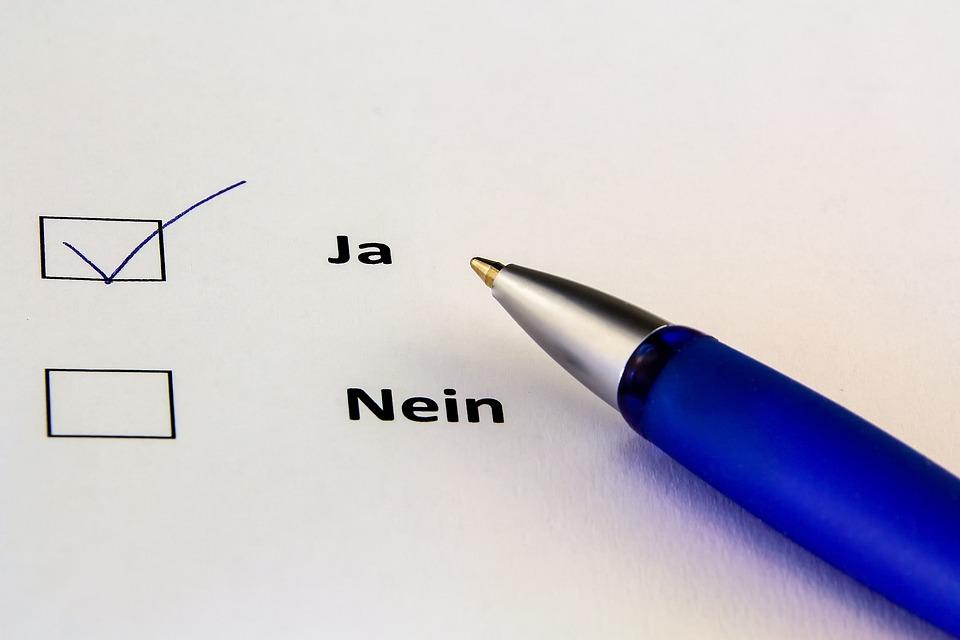 Schreiben, Papier, Ja, Abstimmen, Ankreuzen, Positiv