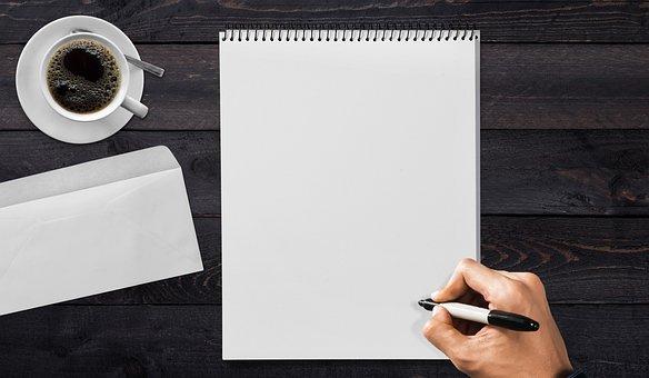 手書きパッド, 手, 日雇い労働者, 封筒, コーヒー, テーブル, 書きます