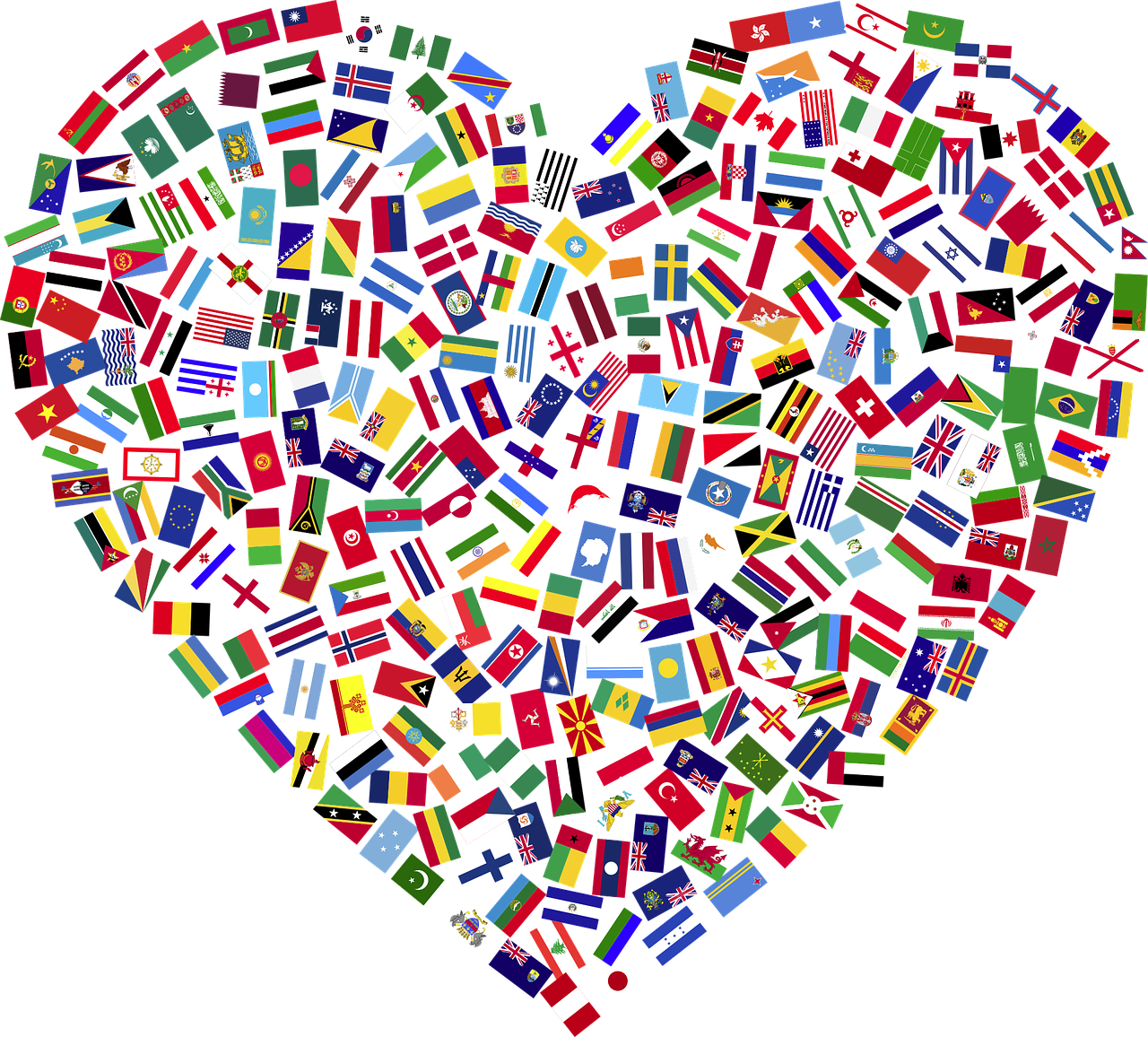Flags of the world heart