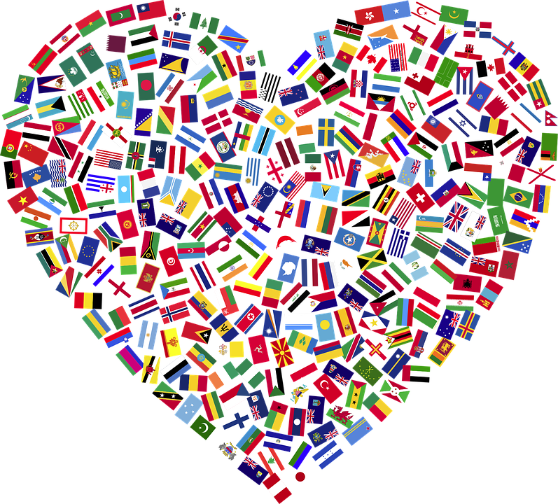 Heart, Flags, Countries, United, Unity, Togetherness