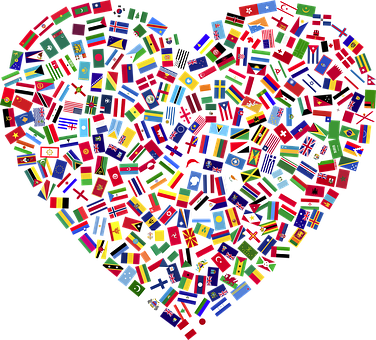 Heart, Flags, Countries, United, Unity