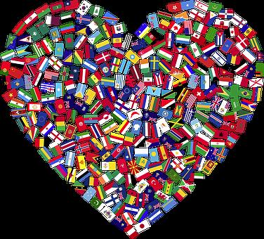Corazón, Banderas, Países, Unidos