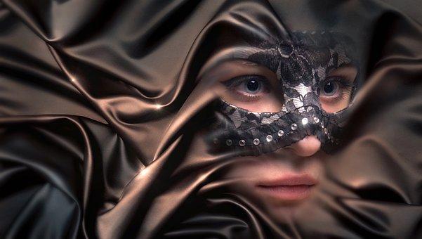 Retrato, Mujer, Máscara, Tela, Doble