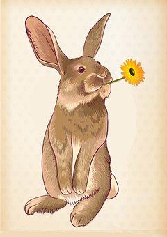 Hase, Blume, Ostern, Niedlich, Frühling