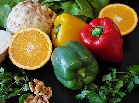 パプリカ, サラダ, 食品, 健康, 野菜, ダイエット, 新鮮, レモン