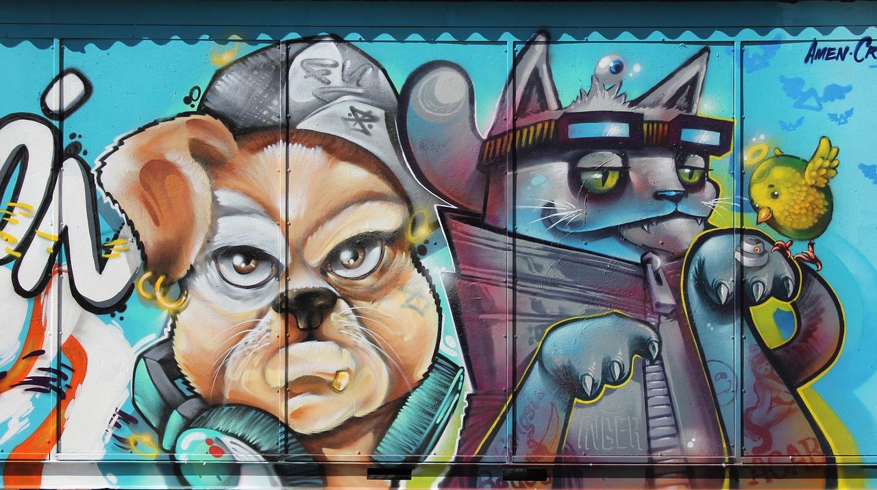 картинки граффити собака