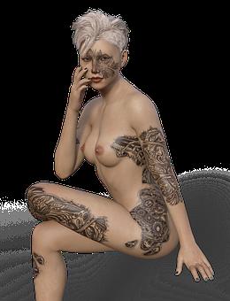 Nackte frauen tätowierte Tattoos Nackte